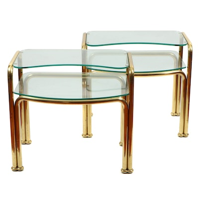 Pair of Brass and Glass Tiered End Tables