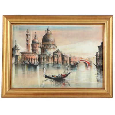 Venetian Canal Scene Watercolor Painting, 20th Century