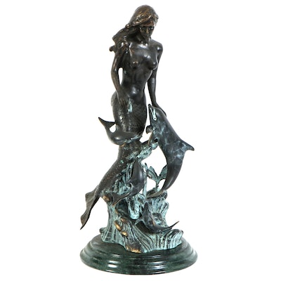 SPI Gallery Bronze Sculpture of Mermaid and Dolphin