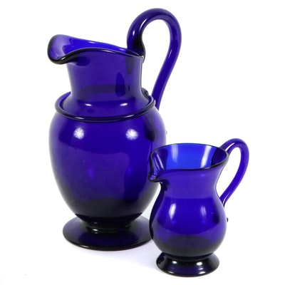 Cobalt Blue Blown Glass Pitcher and Creamer, Mid to Late 20th Century