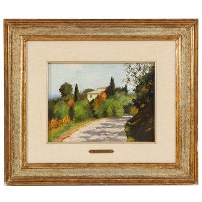 Remo Cenerini Tuscan Landscape Oil Painting, circa 1985
