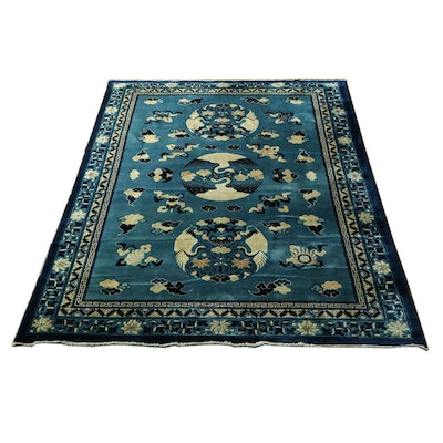 7' x 10' Hand-Knotted Chinese Silk and Wool Rug