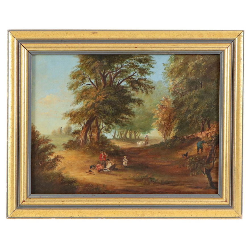 Pastoral Scene with Children Oil Painting, Late 19th to Early 20th Century