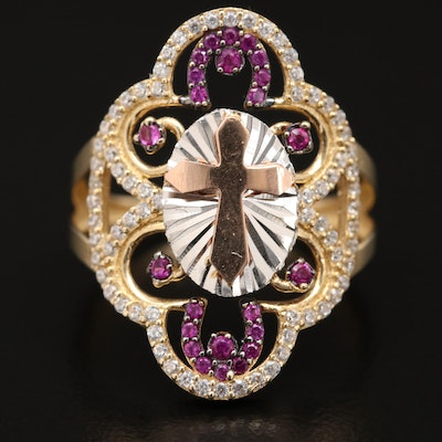 14K Cubic Zirconia and Ruby Cross Openwork Ring