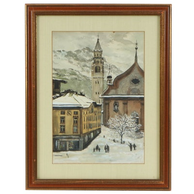 C. Hendry Winter European Landscape Watercolor Painting, 1963