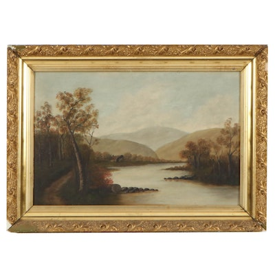 Hudson River Landscape Oil Painting, Late 19th Century