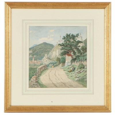 Attributed Carl Gelb European Landscape Watercolor Painting