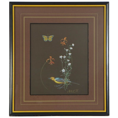 Pastel Drawing of Butterfly, Bird, and Flower