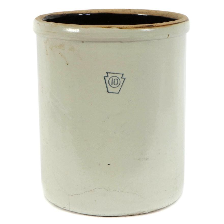 Glazed Stoneware Ten-Gallon Crock