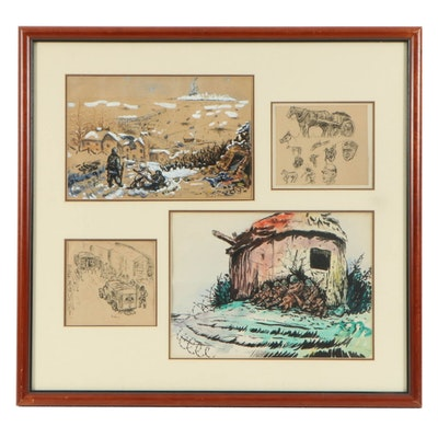 David J. Weinstein World War II Ink and Gouache Illustrations