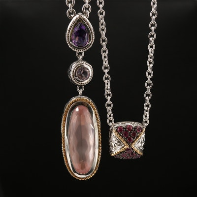 Sterling Amethyst, Rose Quartz and Amethyst Necklaces Featuring Andrea Candela