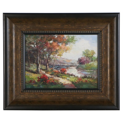 Impressionist Style Landscape Oil Painting of River Scene