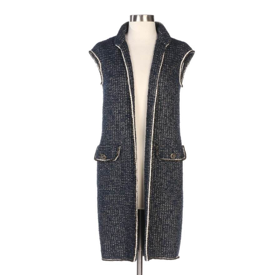 Chanel Navy Tweed Open Front Long Vest with Mixed Metallic Accent
