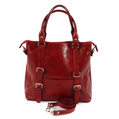 Fratelli Red Grained Leather Two-Way Shoulder Bag