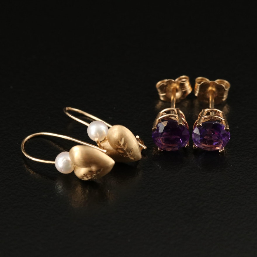 14K Pearl Heart Drop and Amethyst Stud Earrings