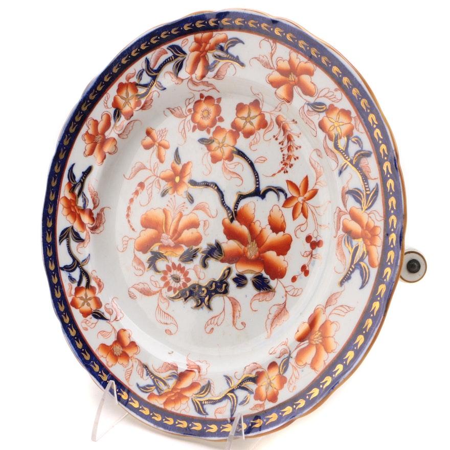 English Imari Ceramic Warming Plate, Mid to Late 19th Century