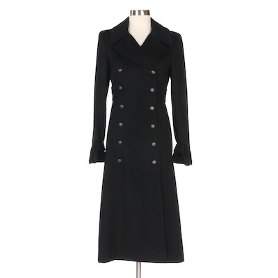 Chanel Black Cashmere and Silk Lined Double-Breasted Coat