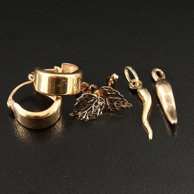 14K Small Hoop Earrings, Leaf Stud Earrings and Cornicello Charms
