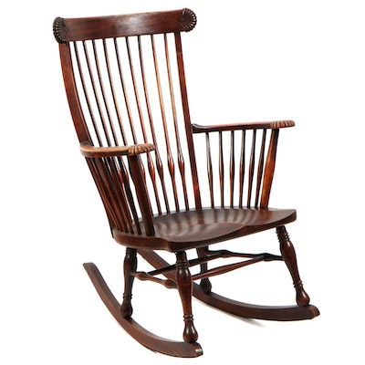 Victorian Shell-Carved Birch Rocking Armchair, Late 19th/Early 20th C.