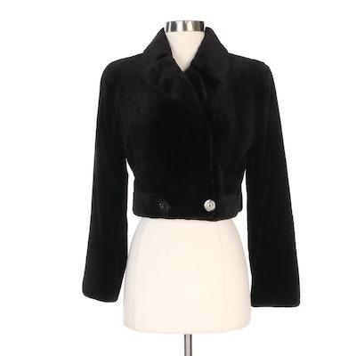 Louis Féraud Sheared Black Mink Fur Cropped Jacket