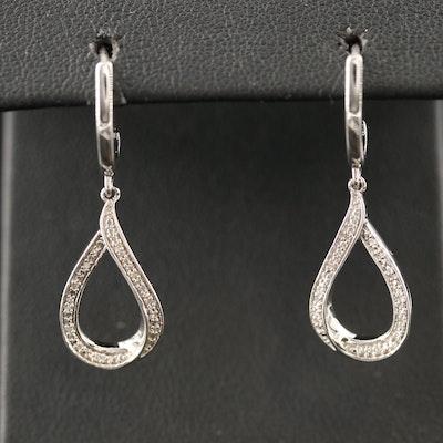 Sterling Silver Diamond Teardrop Dangle Earrings