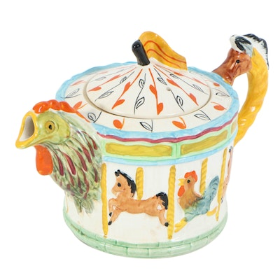"Melba Ware ""Merry Go Round"" Novelty Ceramic Teapot, Mid-20th Century"
