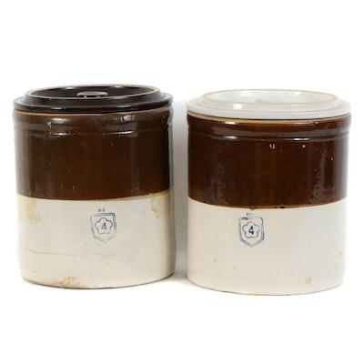 Glazed Stoneware Four-Gallon Crocks with Lids