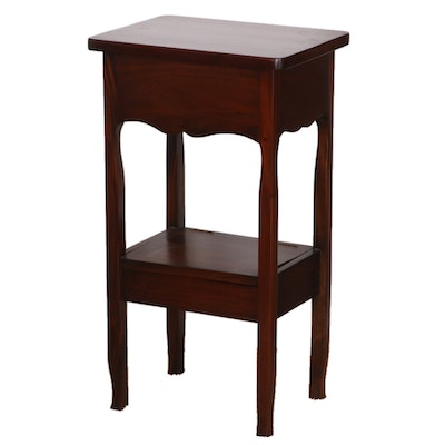 Mahogany Tiered Side Table with Lift Top Storage
