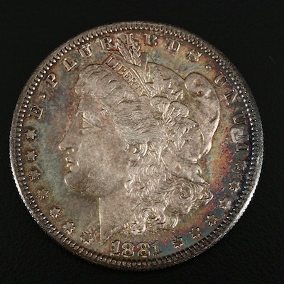 Toned 1881-S Morgan Silver Dollar