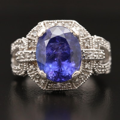 14K 6.36 CT Tanzanite Ring with Diamond Shoulders and Gallery