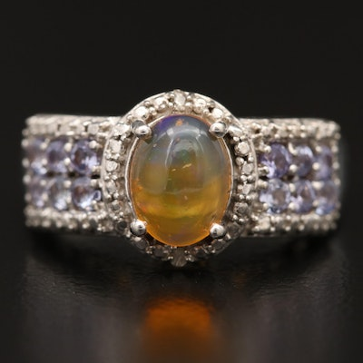 Sterling Silver Opal, Tanzanite and Diamond Ring