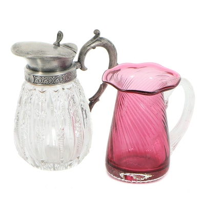 Cranberry Glass Pitcher and Cut Glass Syrup Pitcher, Early 20th Century
