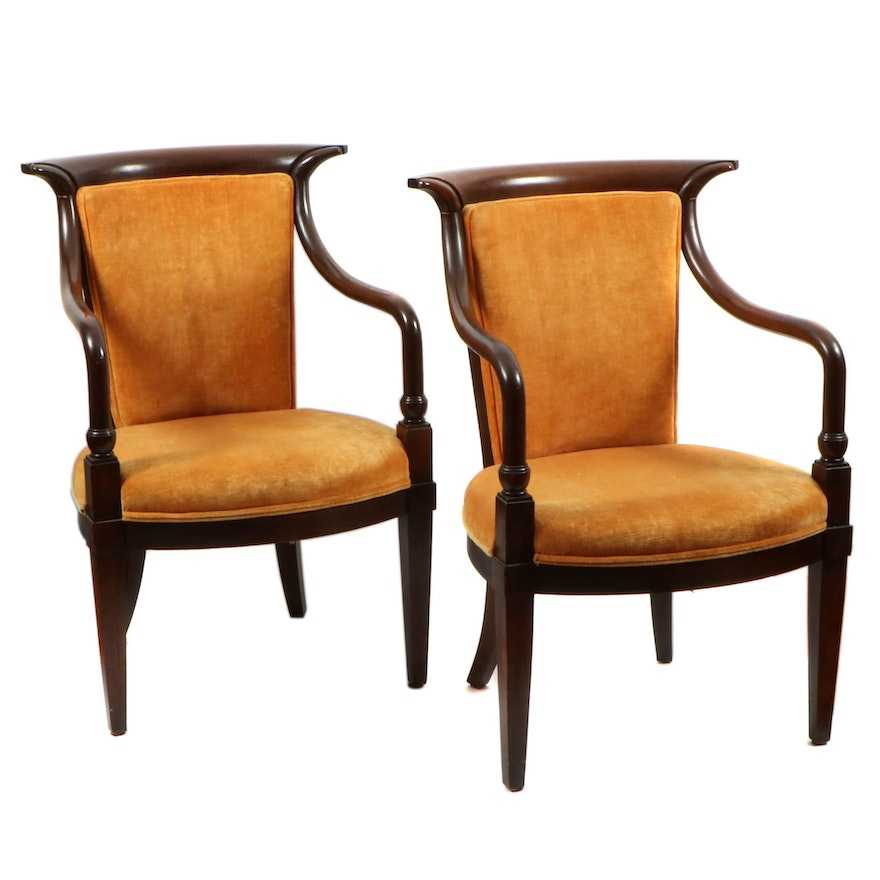 Pair of Empire Style Upholstered Wood Chairs