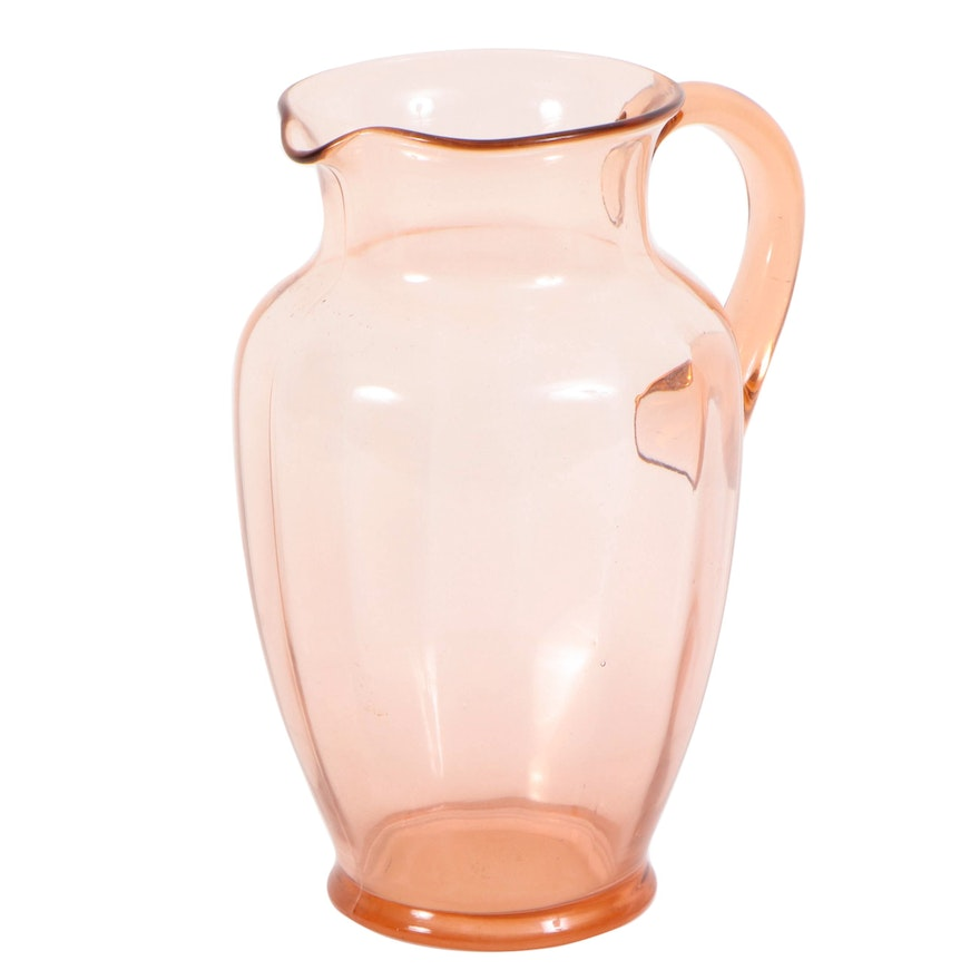 Pink Glass Juice Pitcher with Applied Blown Glass Handle, Mid-20th Century