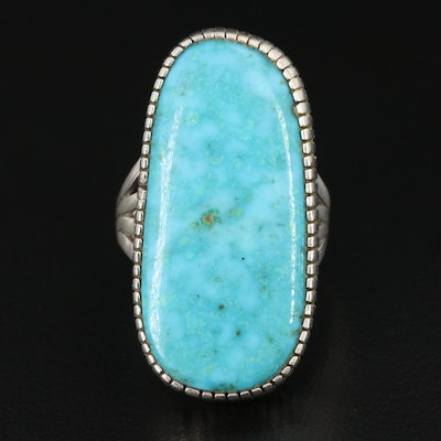 G Begay Navajo Diné Sterling Freeform Turquoise Ring