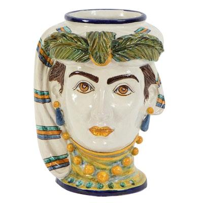 Italian M. Patri Ceramic Head Vase