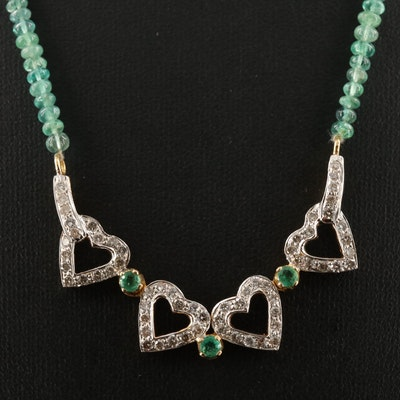 18K Emerald and 1.22 CTW Diamond Four Leaf Clover/Heart Convertible Necklace
