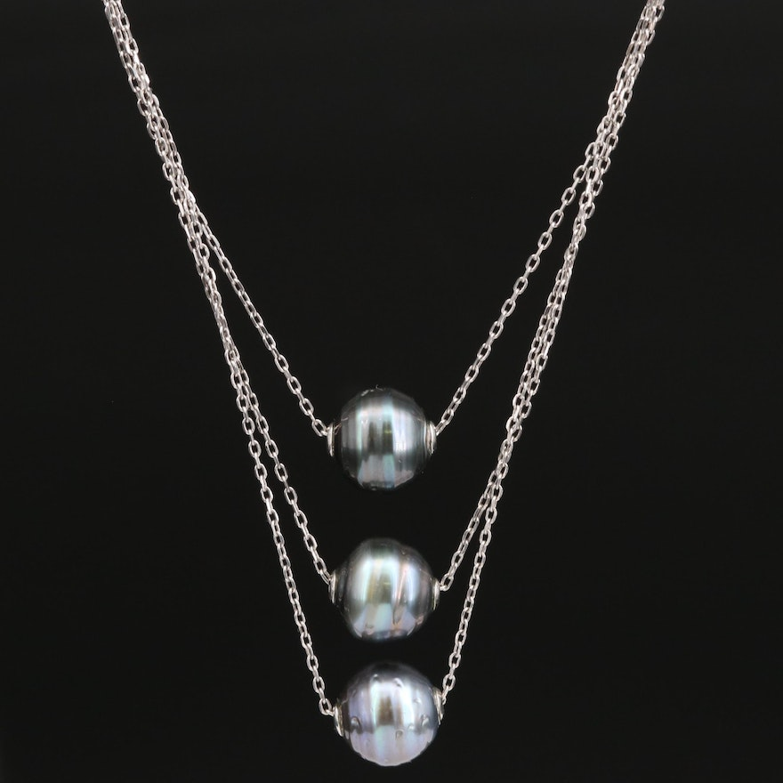 Sterling Pearl Graduating Triple Chain Necklace