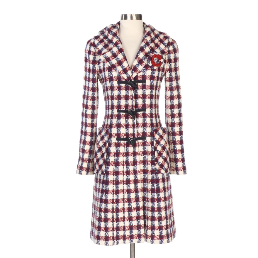 Chanel Red, Blue and White Wool Hooded Duffel Coat