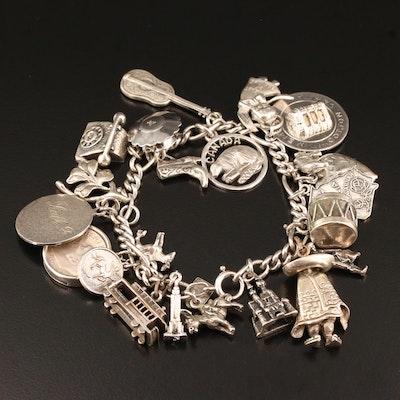 Sterling Silver Charm Bracelet Including 1959 Roosevelt Silver Dime Charm