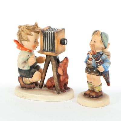 "Goebel Hummel ""Home from Market"" and ""The Photographer"" Porcelain Figurines"