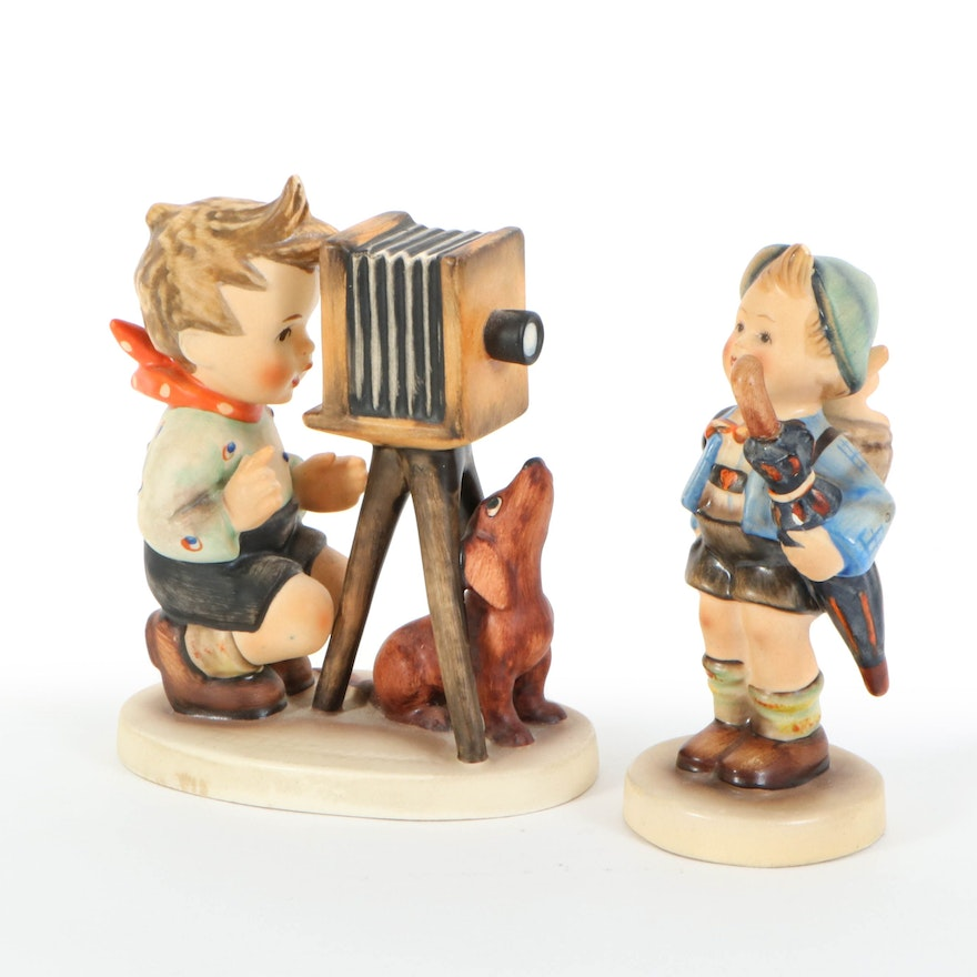 """Goebel Hummel """"Home from Market"""" and """"The Photographer"""" Porcelain Figurines"""