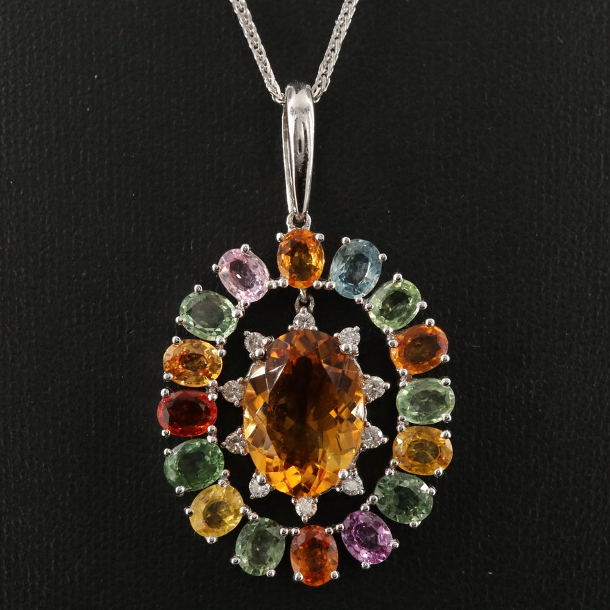 14K 4.41 CT Citrine, Diamond and Sapphire Necklace with Articulating Center
