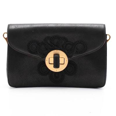 Prada Soutache Embroidered Black Leather Two-Way Clutch