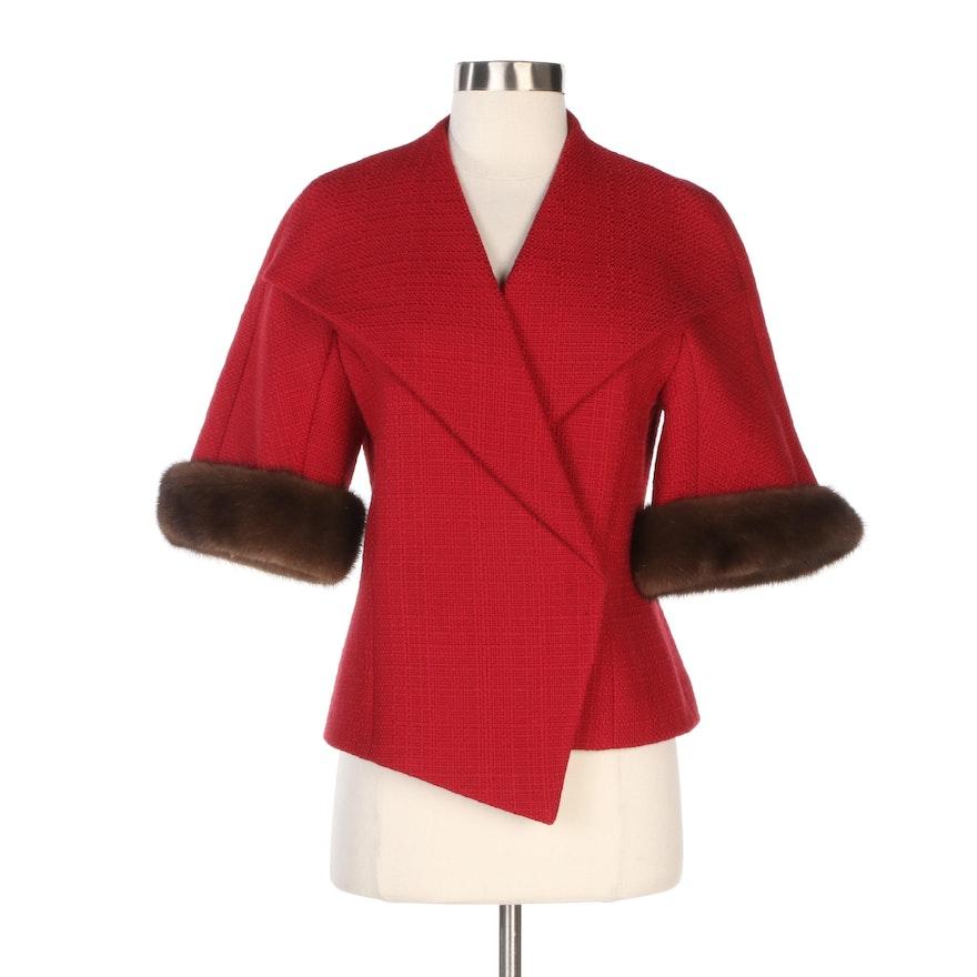 Escada Red Tweed Cropped Jacket with Detachable Mink Fur Cuffs