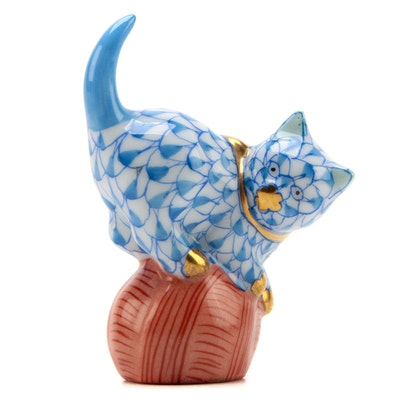 "Herend Blue Fishnet with Gold ""Mischievous Cat"" Porcelain Figurine, July 2000"