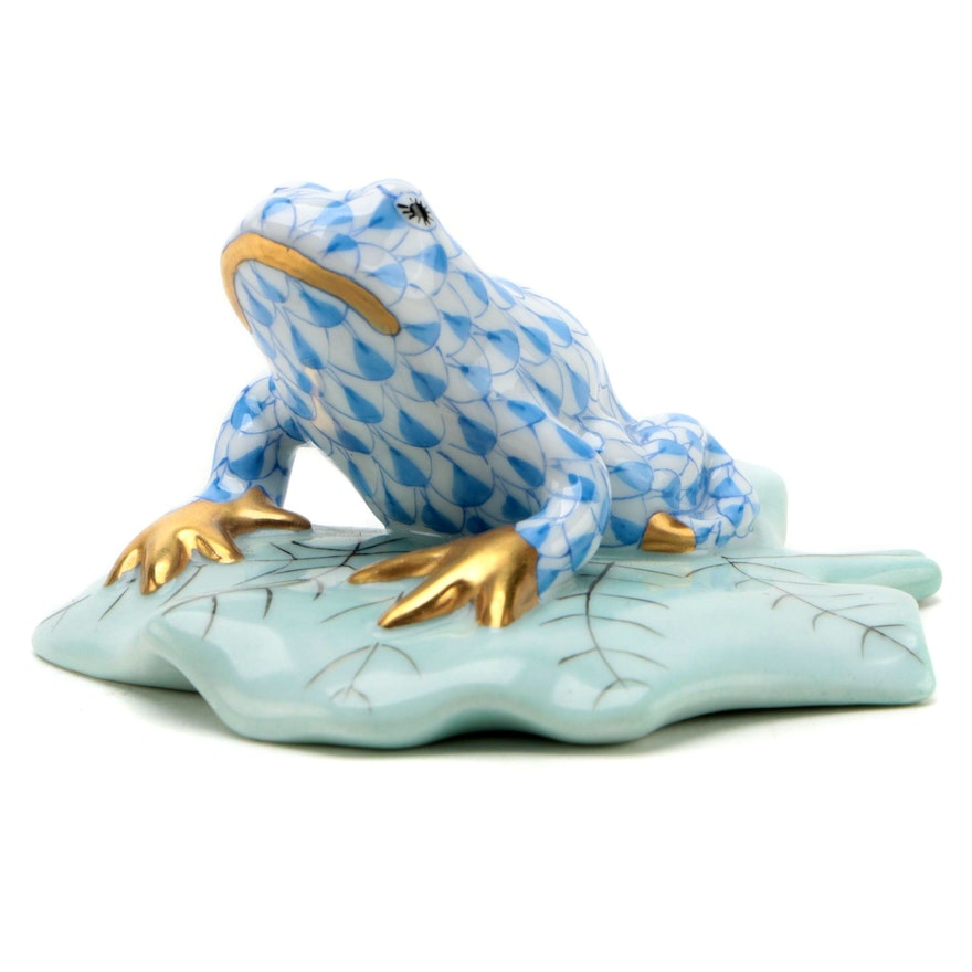 "Herend Blue Fishnet with Gold ""Frog on Lily Pad"" Porcelain Figurine, June 1992"