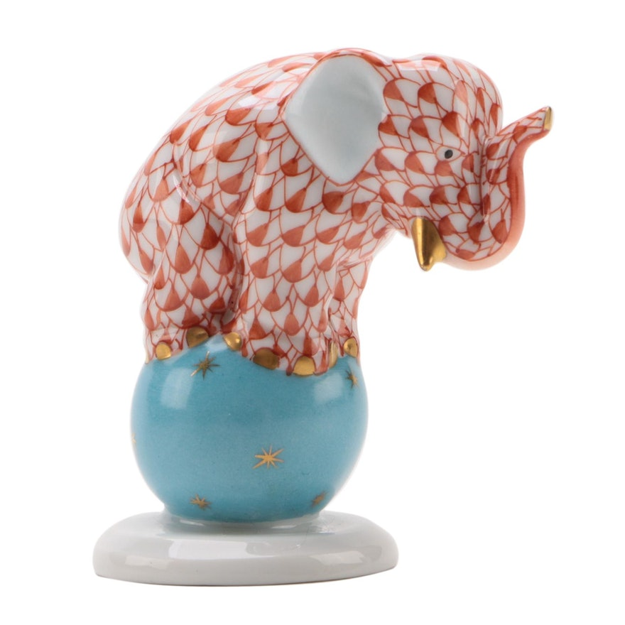 "Herend 175th Anniversary Rust Fishnet ""Dancing Elephant"" Porcelain Figurine"