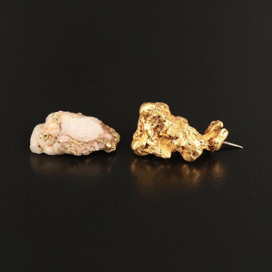 22K Native Gold Brooch and 18K Native Gold in Quartz Specimen