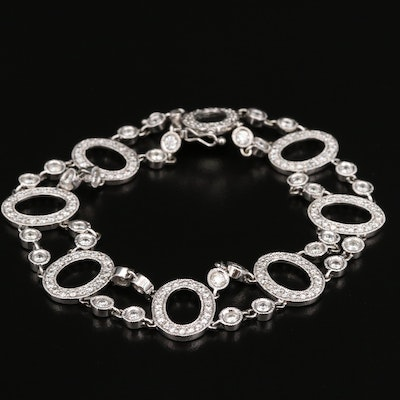 14K 4.21 CTW Diamond Oval Link Station Bracelet